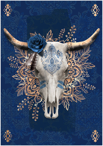 Cow Skull Blue | Canvas Board