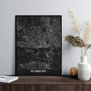 Map Hamburg black | PLAKAT