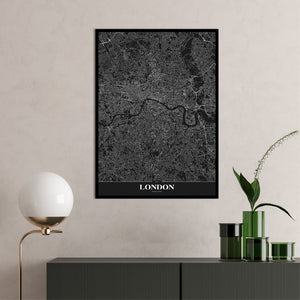Map London black | PLAKAT