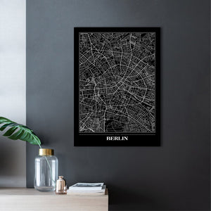 Map Berlin black | PLAKAT