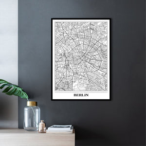 Map Berlin white | PLAKAT