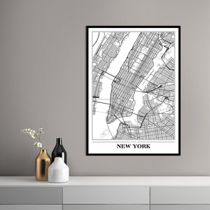 Map New York white | PLAKAT
