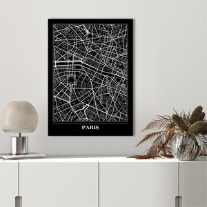 Map Paris Black | PLAKAT