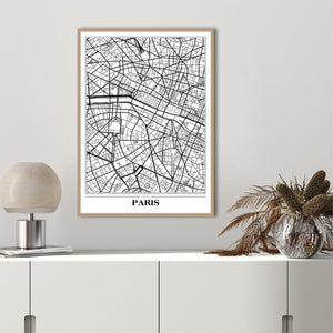 Map Paris white | PLAKAT