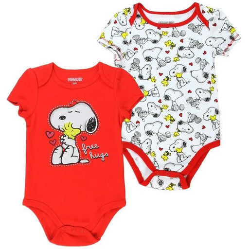 "Snoopy Infant Baby Girls ""Free Hugs"" Creeper Onesie Bodysuit - 2 Pack-Baby-Peanuts-Mekong Magic"