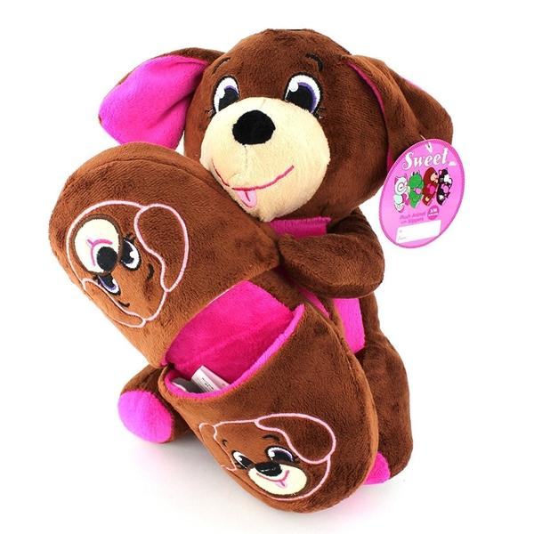 Sweet Dreams Brown Dog Slippers and Plush Gift Set-Slippers-Sweet Dreams-Mekong Magic