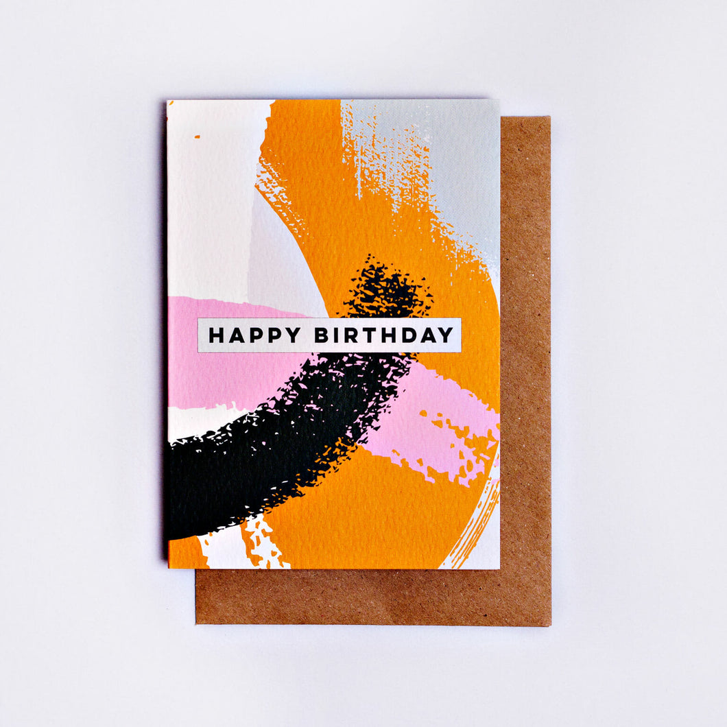 The Completist / Graphic Card / Wenskaart / Pink Mustard Swirl / Happy Birthday