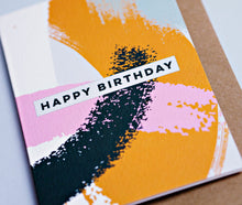 Load image into Gallery viewer, The Completist / Graphic Card / Wenskaart / Pink Mustard Swirl / Happy Birthday
