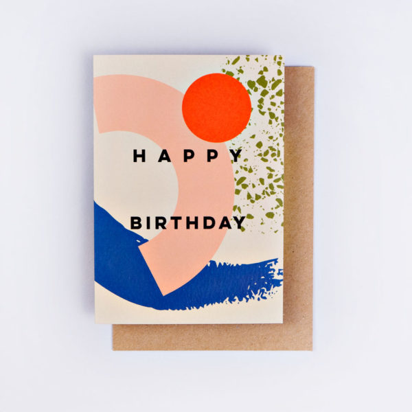 The Completist / Graphic Card / Wenskaart / Memphis Brush Birthday