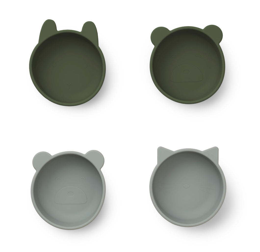 Liewood / Iggy Silicone Bowls / 4-pack / Hunter Green Mix