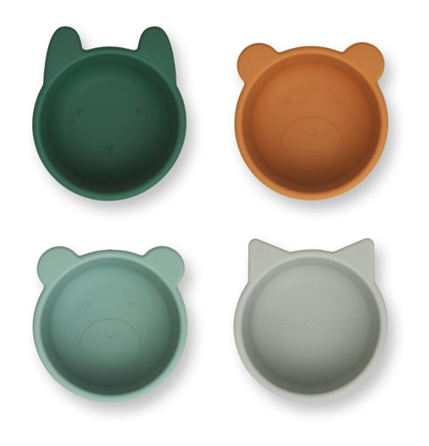 Liewood / Malene / Silicone Bowl / 4-Pack / Green Multi Mix