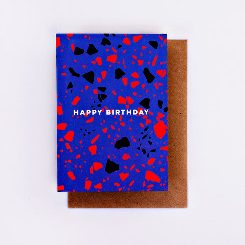 The Completist / Graphic Card / Wenskaart / Blue Terrazzo / Happy Birthday