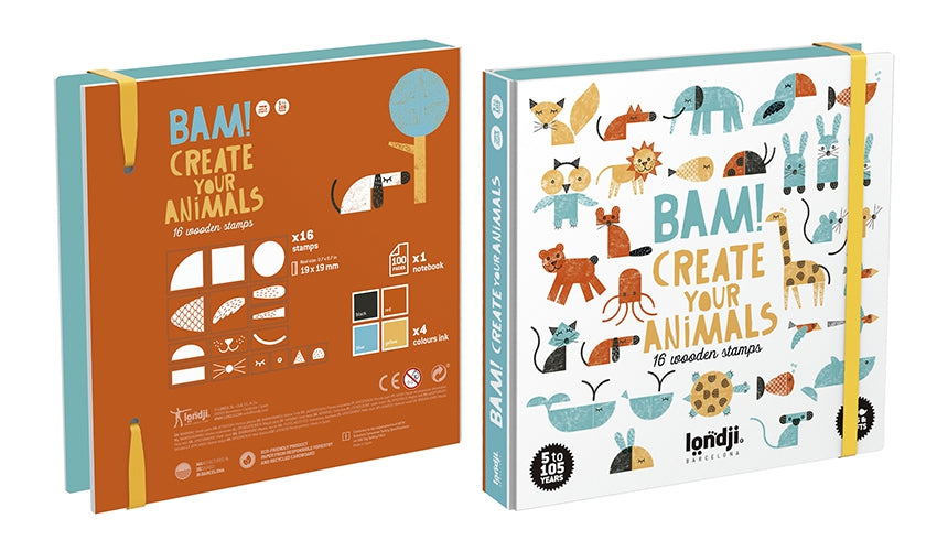 Londji / Wooden Stamps / BAM! Create your animals / 5Y+