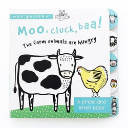 Wee Gallery / Boek / Geluidenboek / Moo, Cluck, Baa! The Farm Animals are Hungry