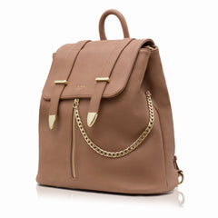 Brown Vegan Leather Backpack by Labante from the side