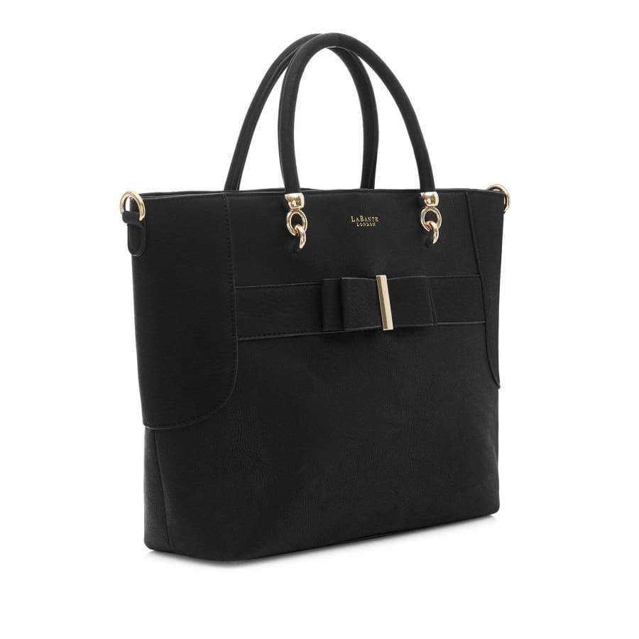 Ally Black Vegan Tote Bag from the side