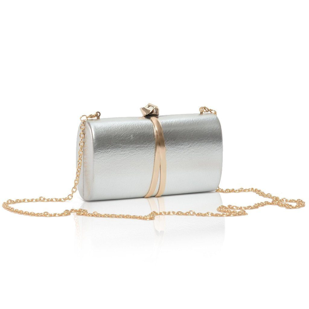 Barre Silver vegan clutch Bag with strap by Labante at ALIVE Boutique
