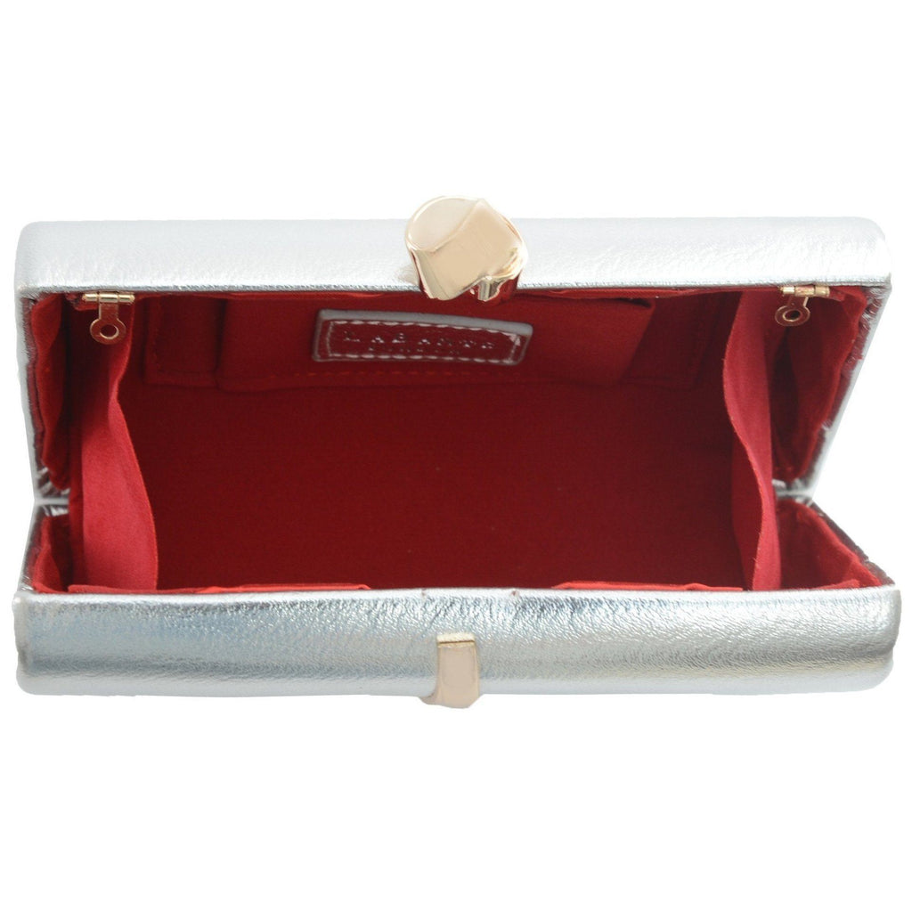 Barre Silver vegan clutch opened by Labante at ALIVE Boutique