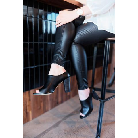 Black Anasa Vegan Shoes Heels by Bahatika picture with vegan leather leggings at ALIVE Boutique