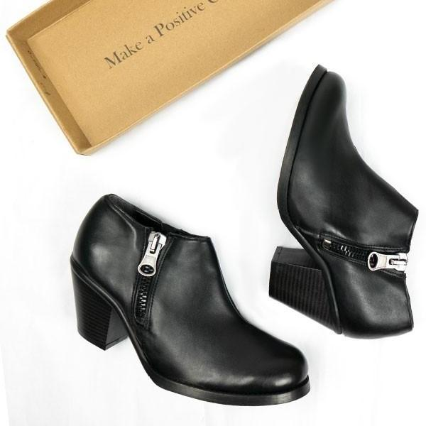 Black Luxed Heeled Shoes by Will's Vegan Shoes ALIVE Boutique with a shoe box