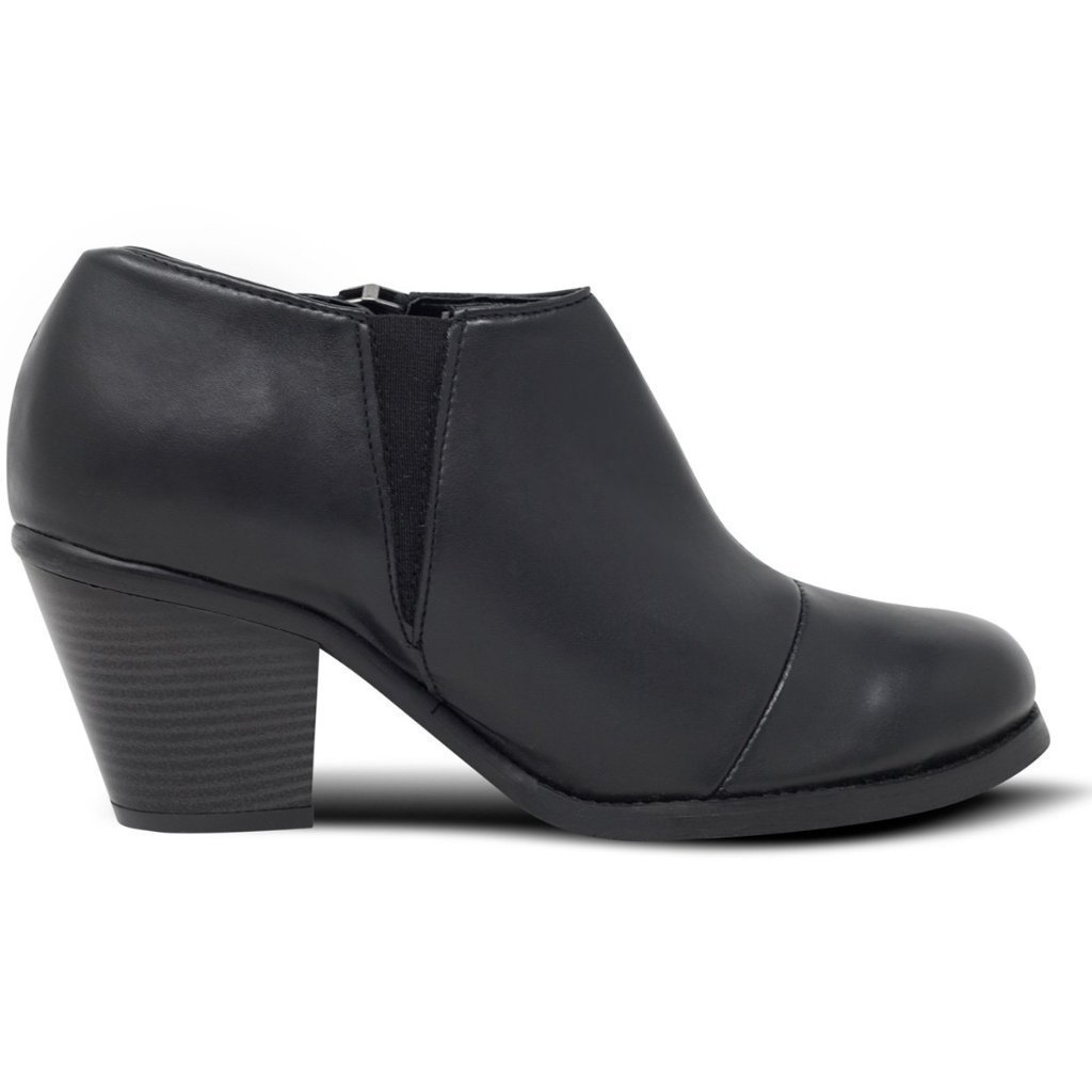 Black Luxed Heeled vegan Shoes picture from the right by Will's Vegan Shoes ALIVE Boutique