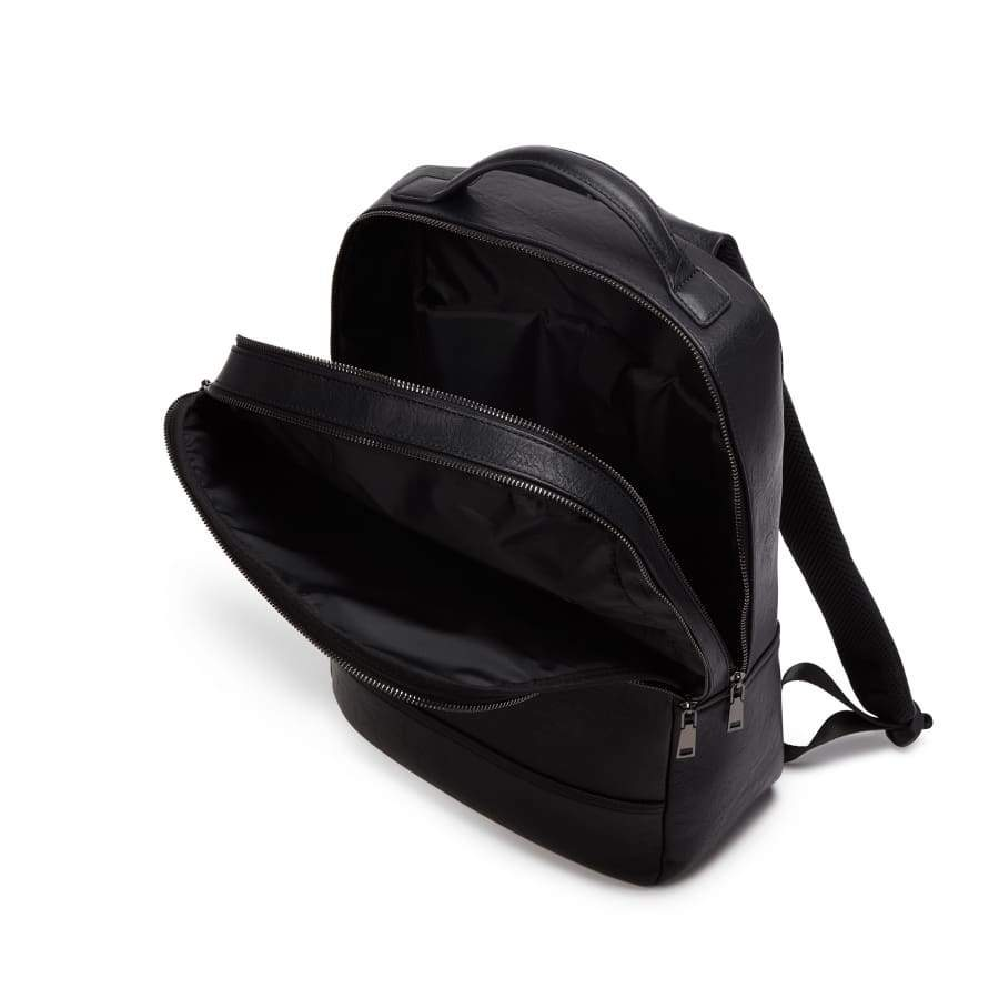 Black Unisex Vegan Backpack Acacia inside from above