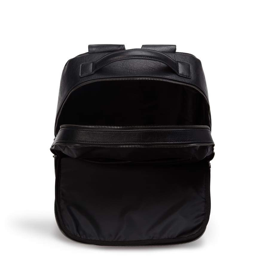 Black Unisex Vegan Backpack Acacia inside