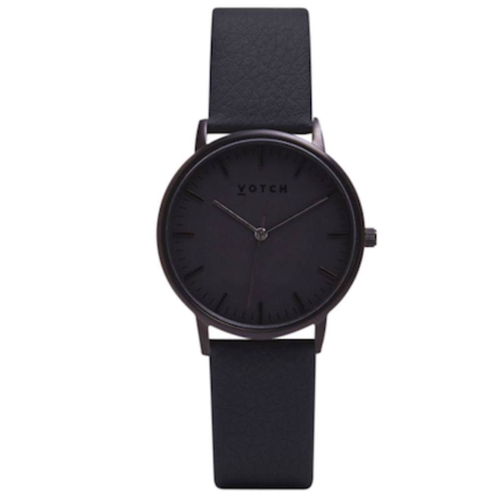 Black Vegan leather Watch Black Face Black Strap at ALIVE