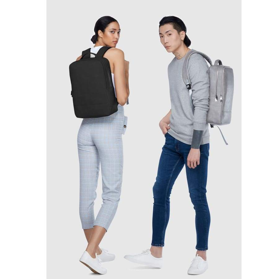 Black and grey Unisex Vegan Backpack Acacia full body portrait