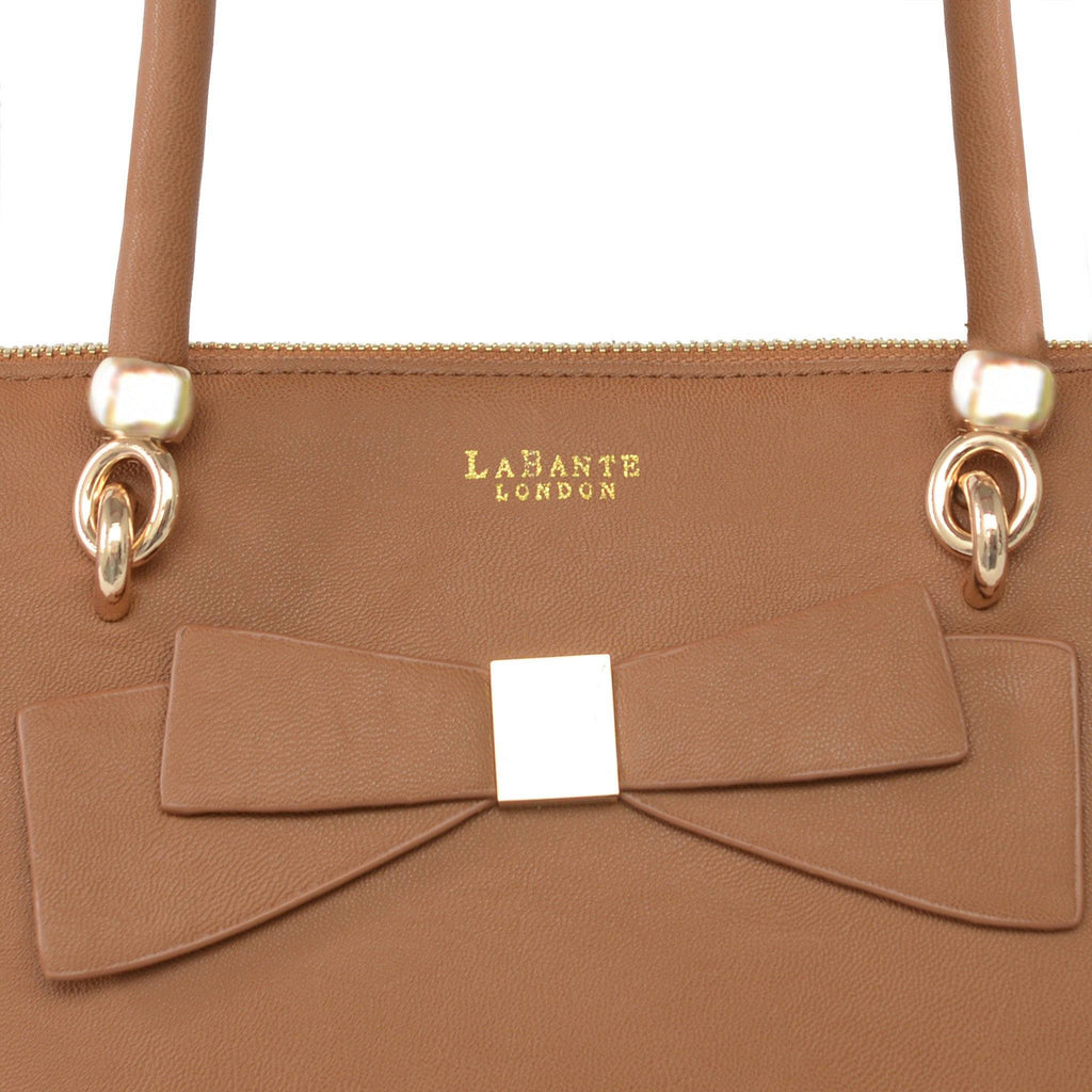 Brown Avenue Vegan Leather Tote Bag by Labante picture of the bow at ALIVE Boutique