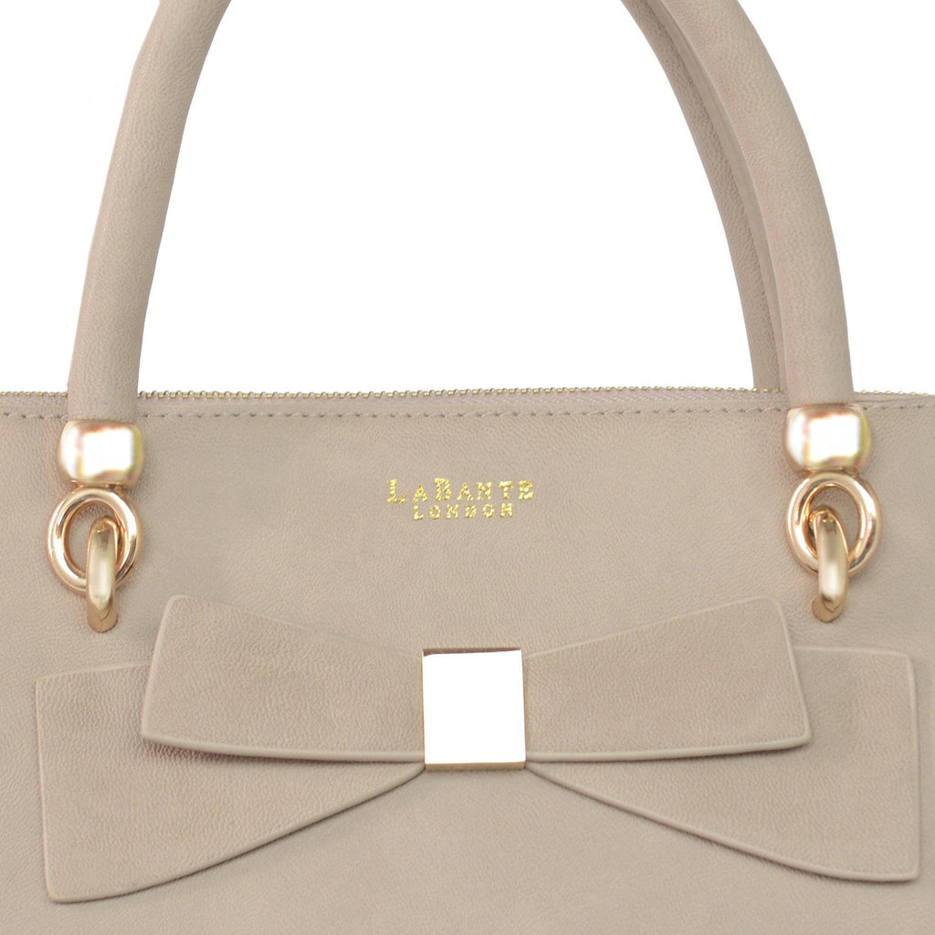 Grey Avenue Bow Vegan Leather Tote Bag by Labante pic from the bow at ALIVE Boutique
