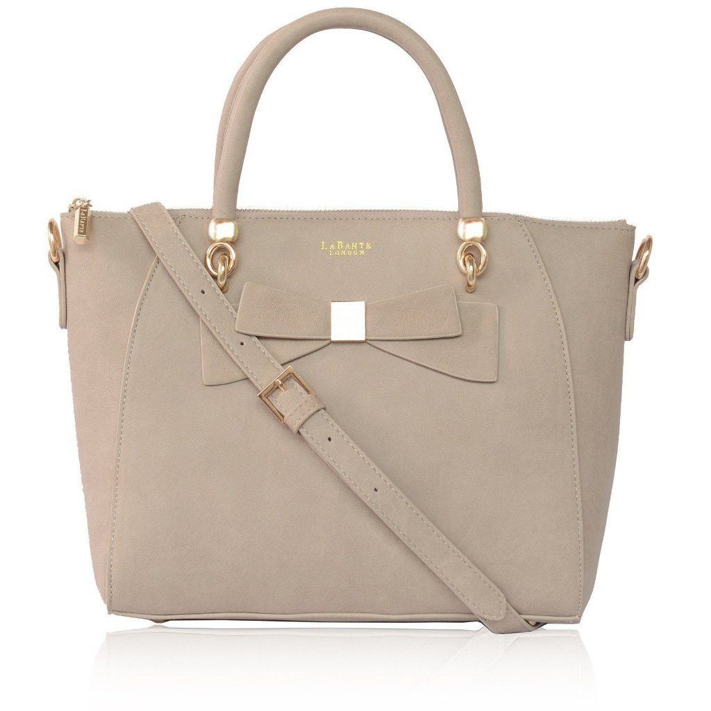 Grey Avenue Bow Vegan Leather Tote Bag by Labante pic from the front with strap at ALIVE Boutique