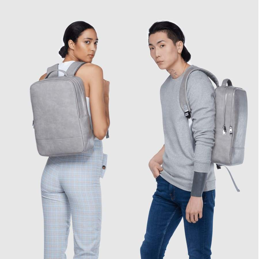 Grey Unisex Vegan Backpack Acacia fully body portrait
