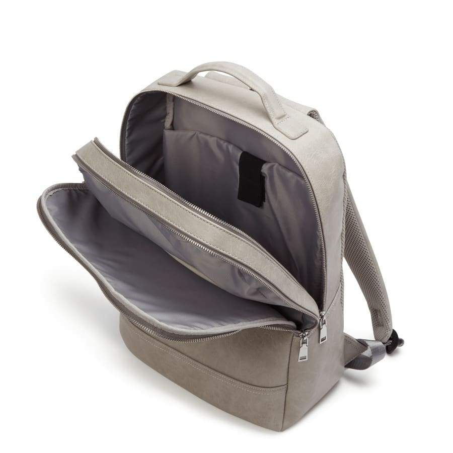 Grey Unisex Vegan Backpack Acacia inside from above