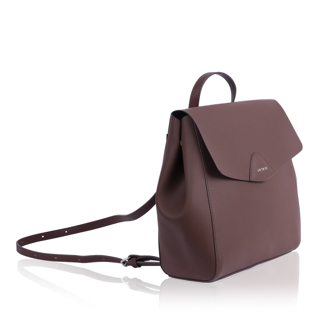 Brown Vegan Backpack Thalie by Inyati from the side