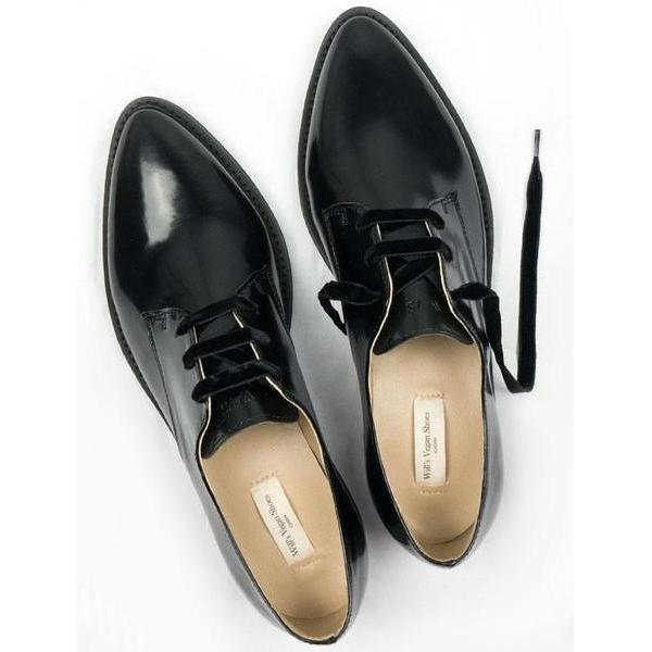 Luxe Derbies Vegan Shoes for Women picture from the above by Will's Vegan Shoes at ALIVE Boutique