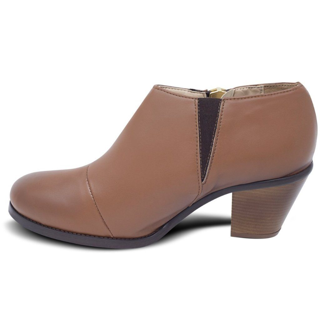 Luxe Heeled Vegan Shoes in Chestnut picture from the left by Will's Vegan Shoes