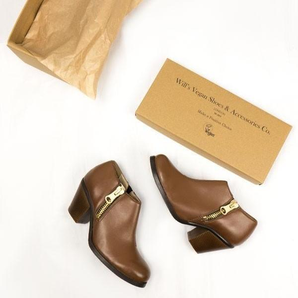 Luxe Heeled Vegan Shoes in Chestnut by Will's London from above with shoe Box at ALIVE Boutique