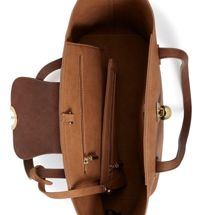 Maple Brown Vegan Shoulder Bag brown inside from above