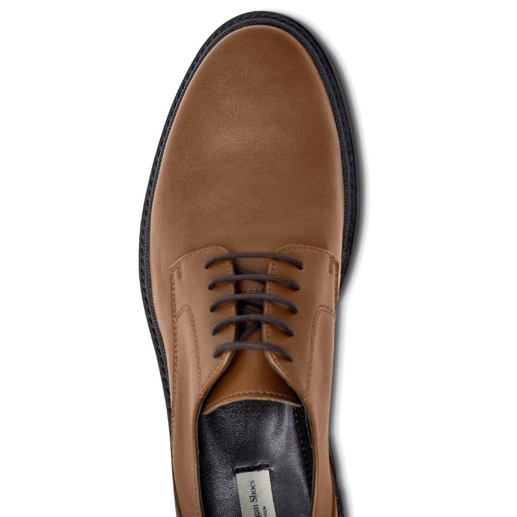 Mens Vegan Shoes Continental Derbies in Tan picture from above by Will's Vegan Shoes ALIVE Boutique
