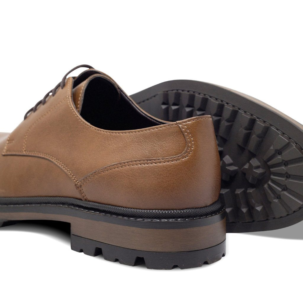 Mens Vegan Shoes Continental Derbies in Tan picture from behind by Will's Vegan Shoes ALIVE Boutique