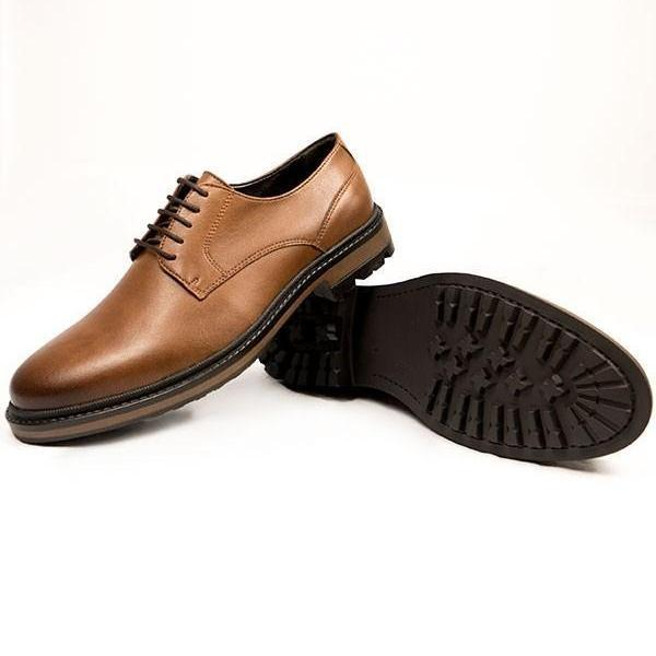 Mens Vegan Shoes Continental Derbies in Tan picture from the side and sole by Will's Vegan Shoes ALIVE Boutique