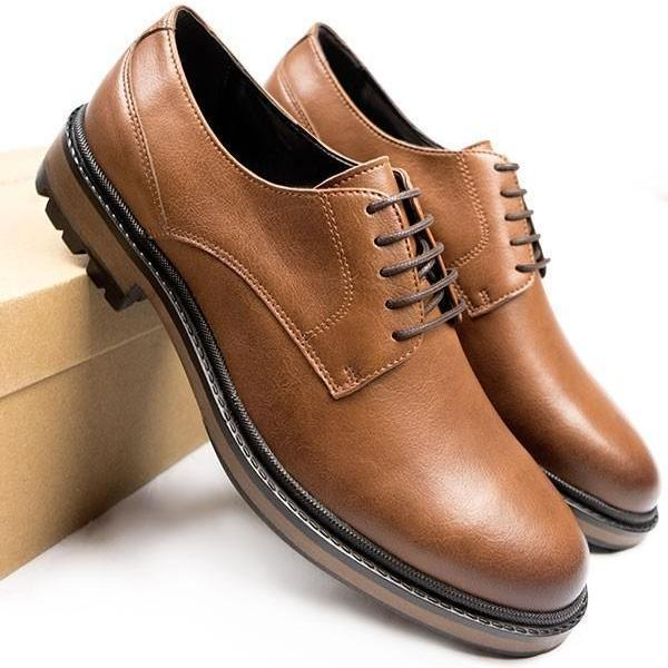 Mens Vegan Shoes Continental Derbies in Tan picture from the side by Will's Vegan Shoes ALIVE Boutique