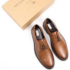 Mens Vegan Shoes Continental Derbies in Tan with shoe box by Will's Vegan Shoes ALIVE Boutique