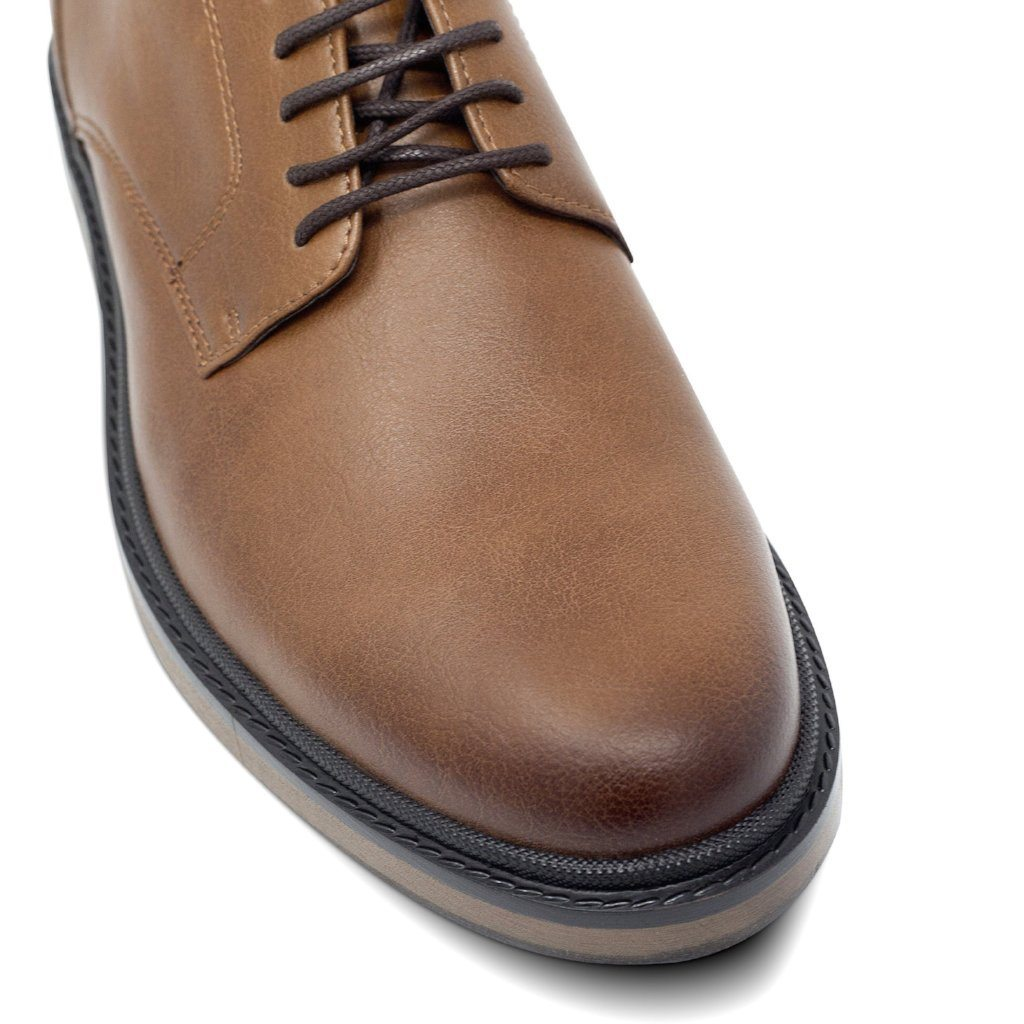Mens Vegan Shoes Continental Derbies in Tan picture of the toecap by Will's Vegan Shoes ALIVE Boutique