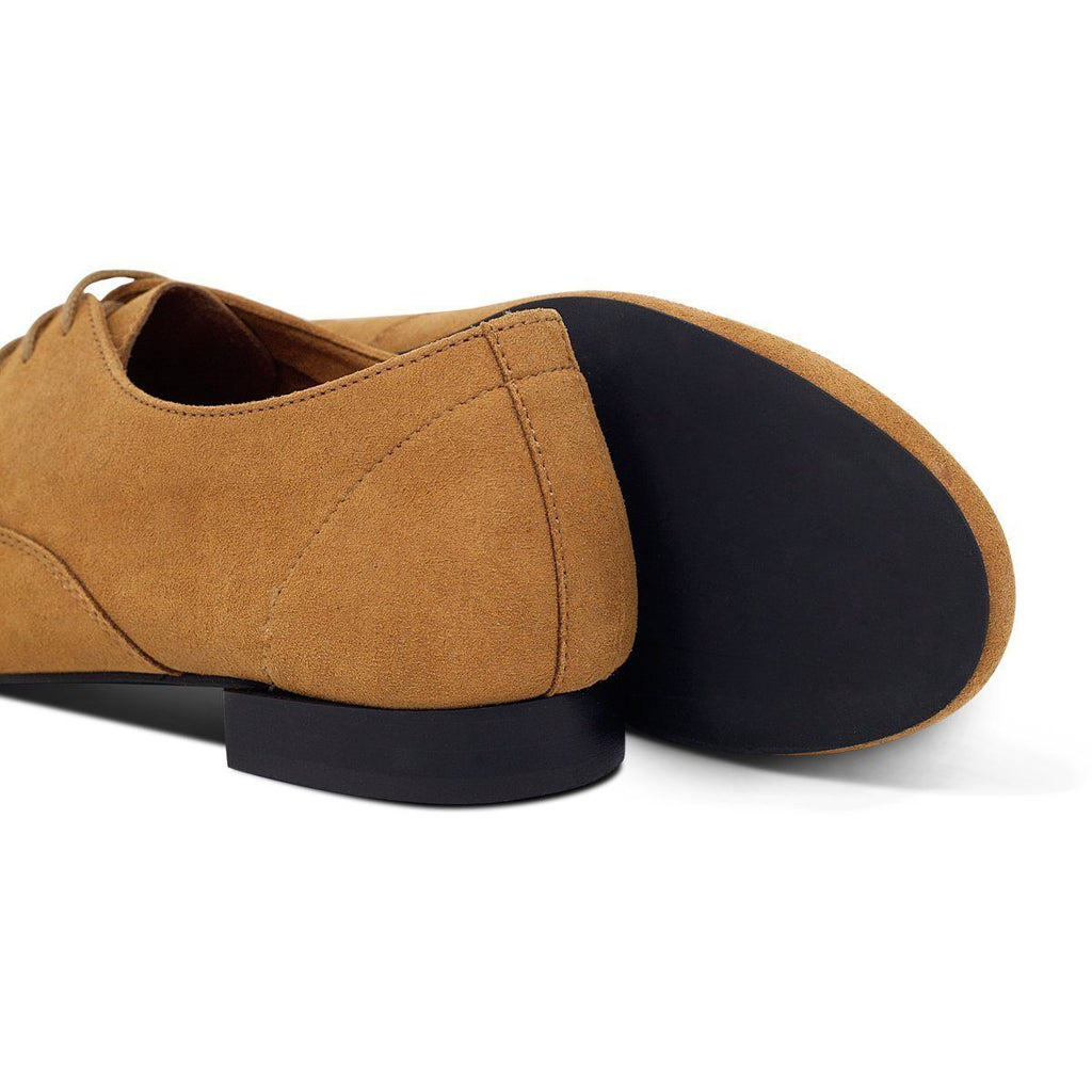 Pair of Bee Vegan shoes and black sole in Mustard for men and women at ALIVE