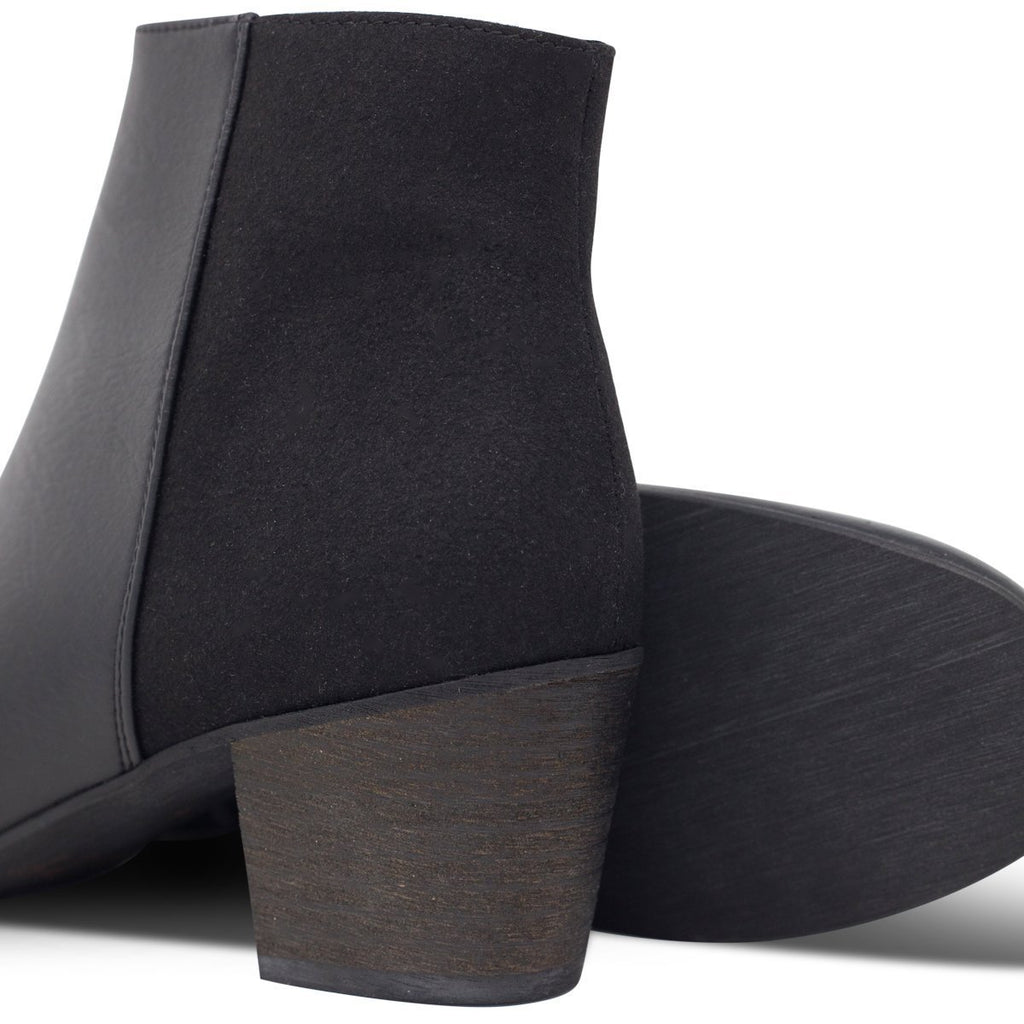 Pair of Vegan Ankle Boots and black sole in Black Nina by Good Guys