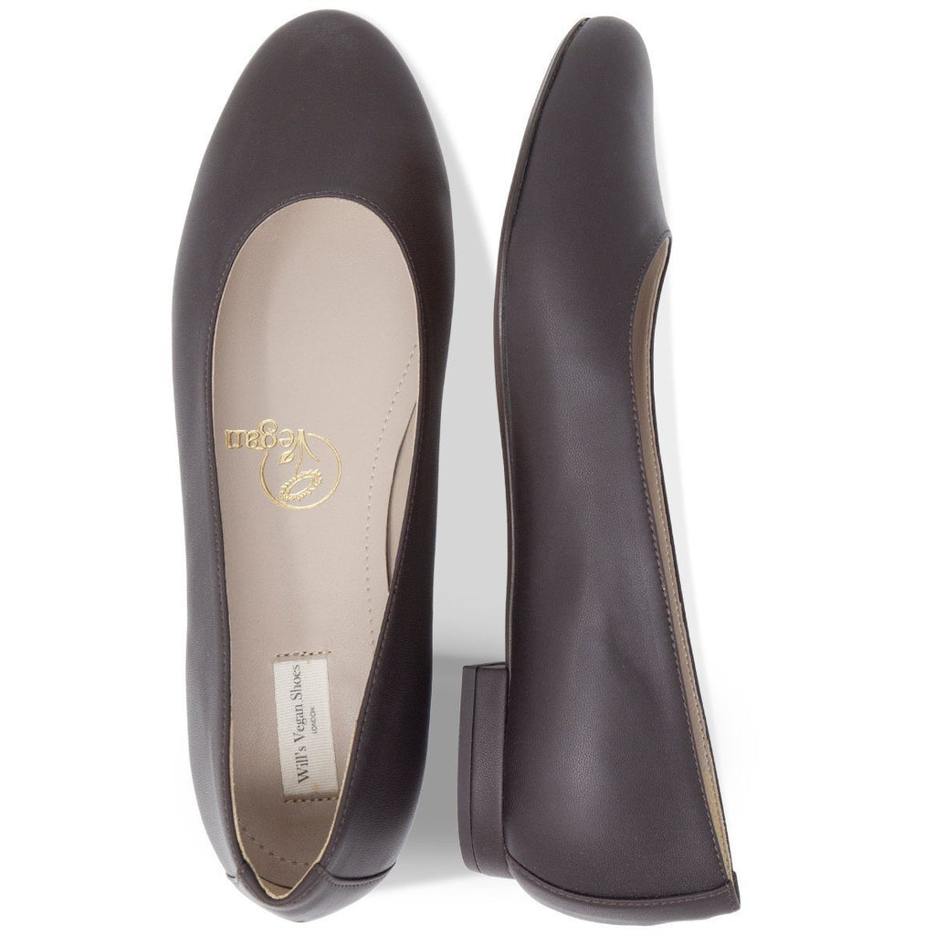 pair of Vegan Ballerina Flats Shoes from above in dark brown at ALIVE Boutique