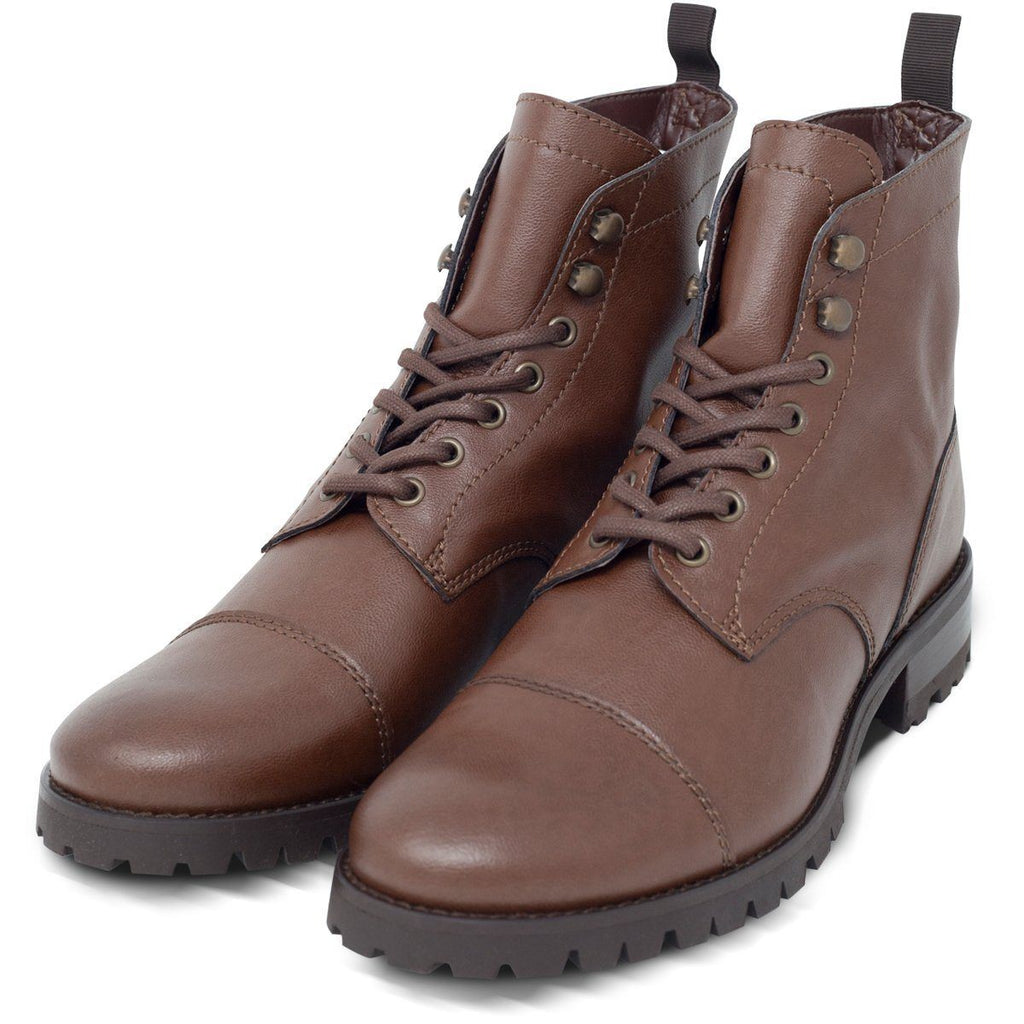 Pair of Vegan Boots Work in Dark Brown by Will's Vegan Shoes at ALIVE