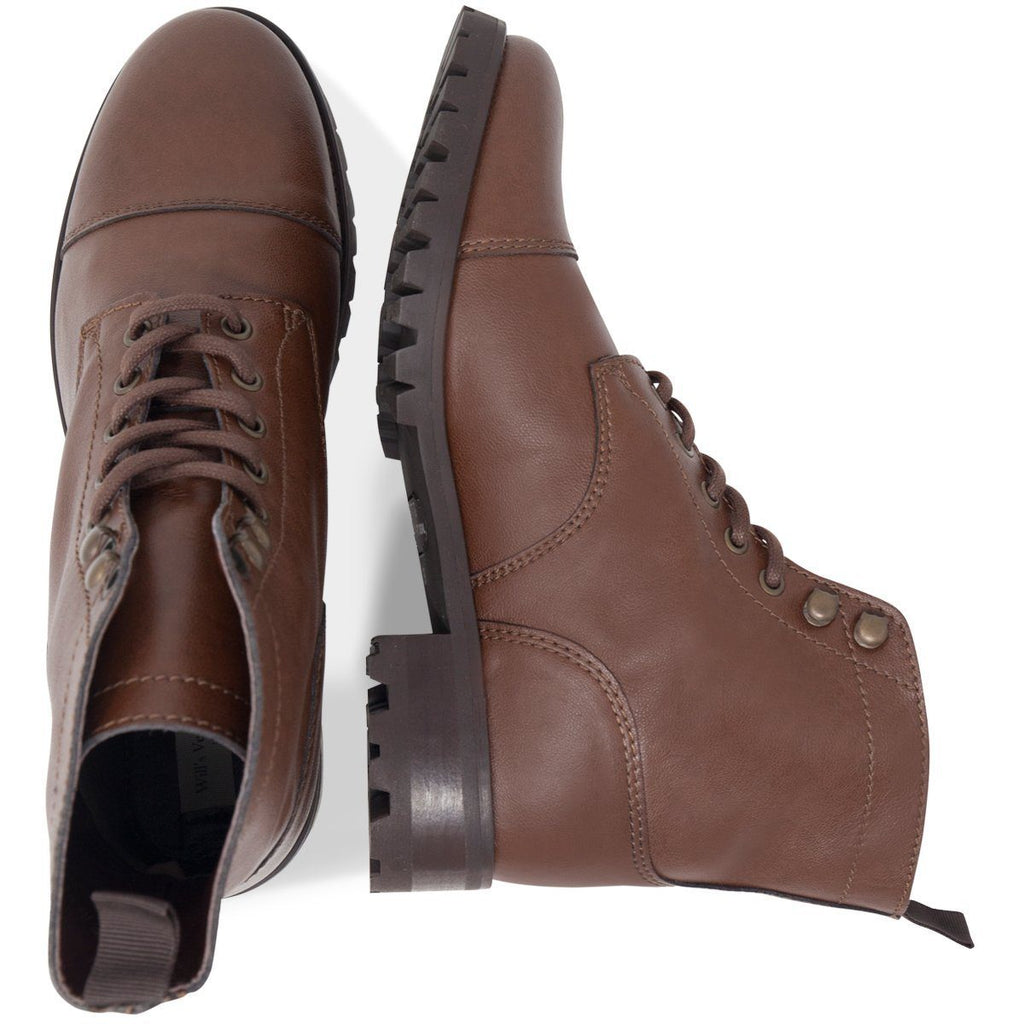 pair of Vegan Work Boots from above in Dark Brown by Will's Vegan Shoes